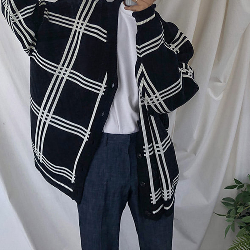 2018 Autumn And Winter Handsome Lattice Sweater Male Korean Thickening Cardigan Knitting Unlined Garment Loose Casual Coat