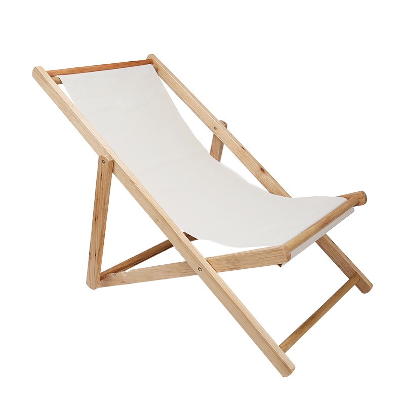 A Outdoor Folding Beach Chair Solid Wood+Oxford Canvas Chair Recliner Portable Fishing Chair Adjustable Wooden Lounge Colorful