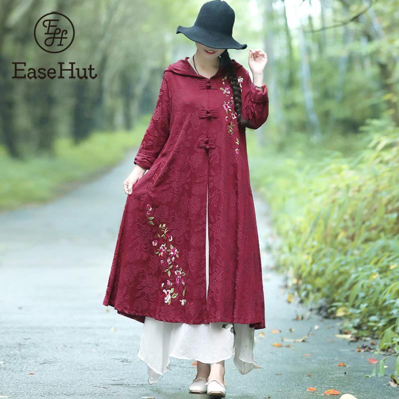 EaseHut   Trench   for Women Vintage Jacquard Embroidery Hooded Long Sleeve Chinese Buckle Pocket Windbreaker Loose Long   Trench   Coat