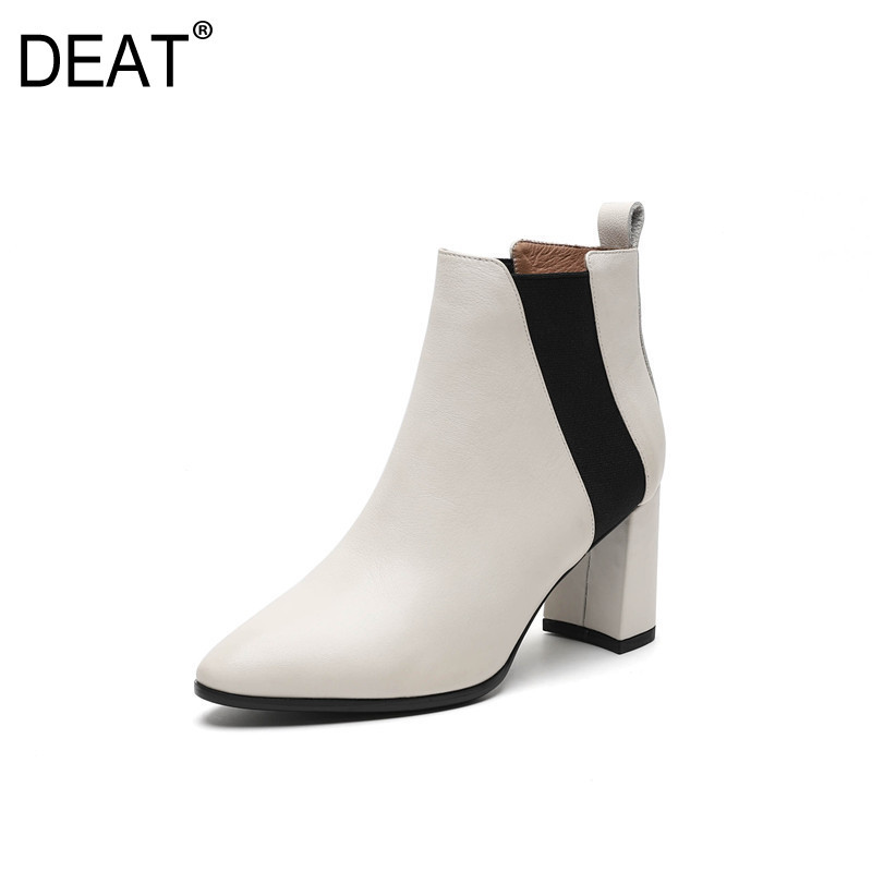 DEAT 2019 New Spring Summer Sharp Toe Square Chunky Heel Pliced Elastic Pu Leather Single