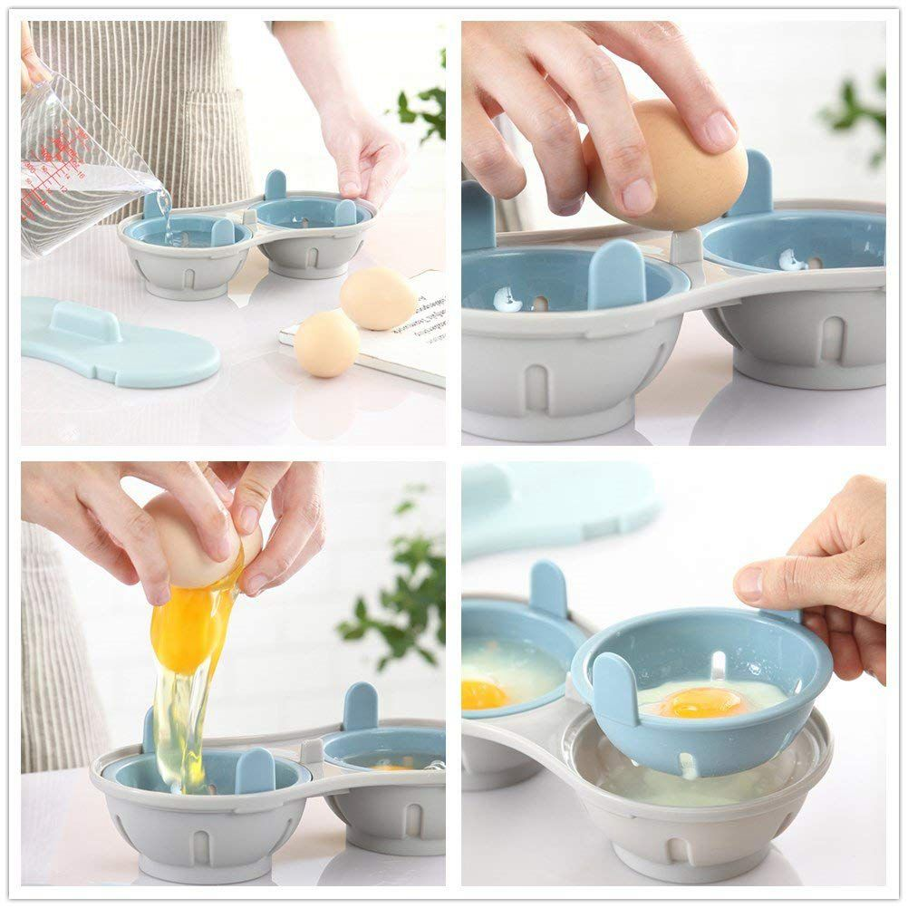 Microwave Egg Poacher Cookware Double Cup Dual Cave High Capacity Design Egg Cooker Ultimate Collection Egg Poaching Cups