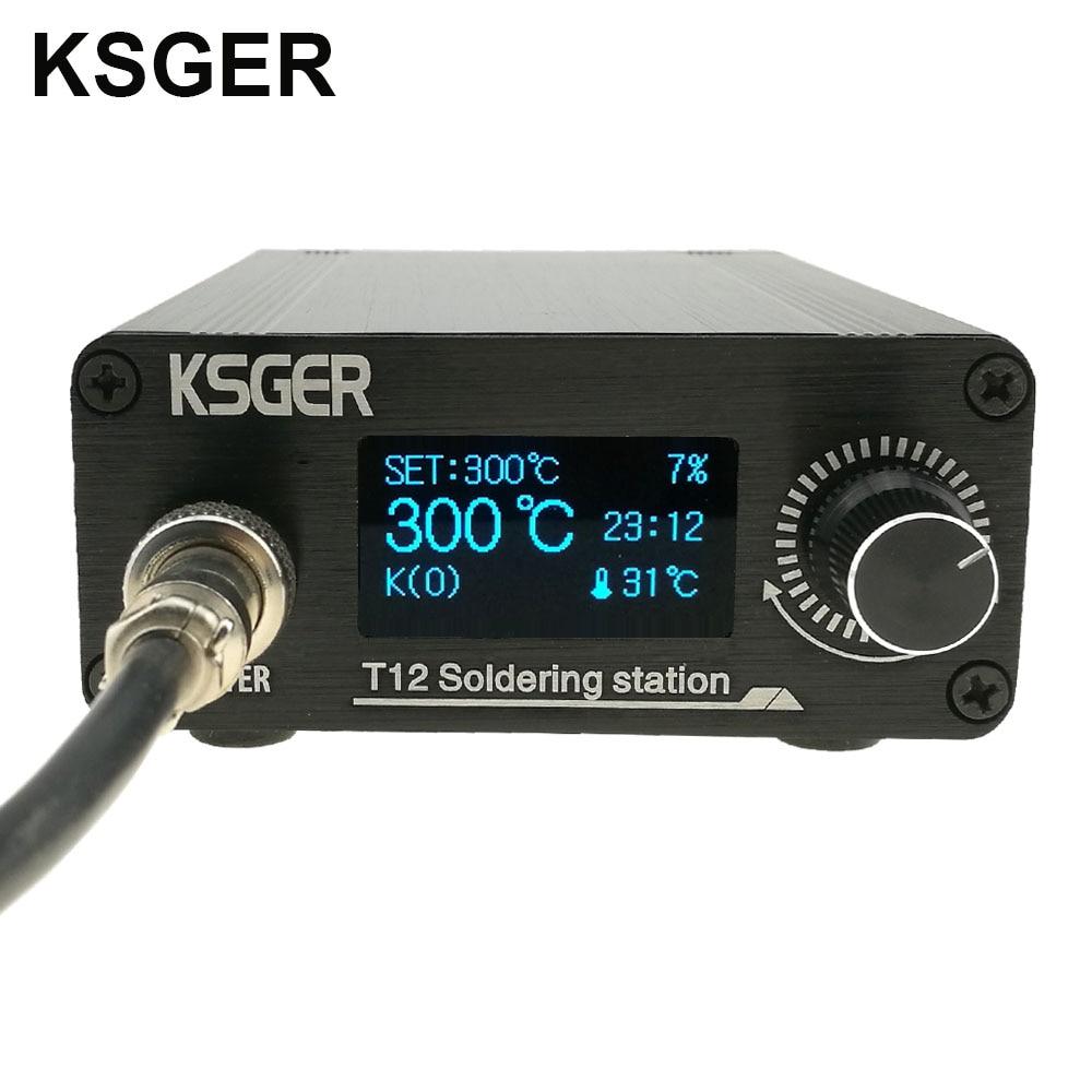 KSGER T12 Soldering Station STM32 OLED V2.01 Digital Electric Controller Aluminum Alloy DIY Kits Welding Tools T12 Iron Tips