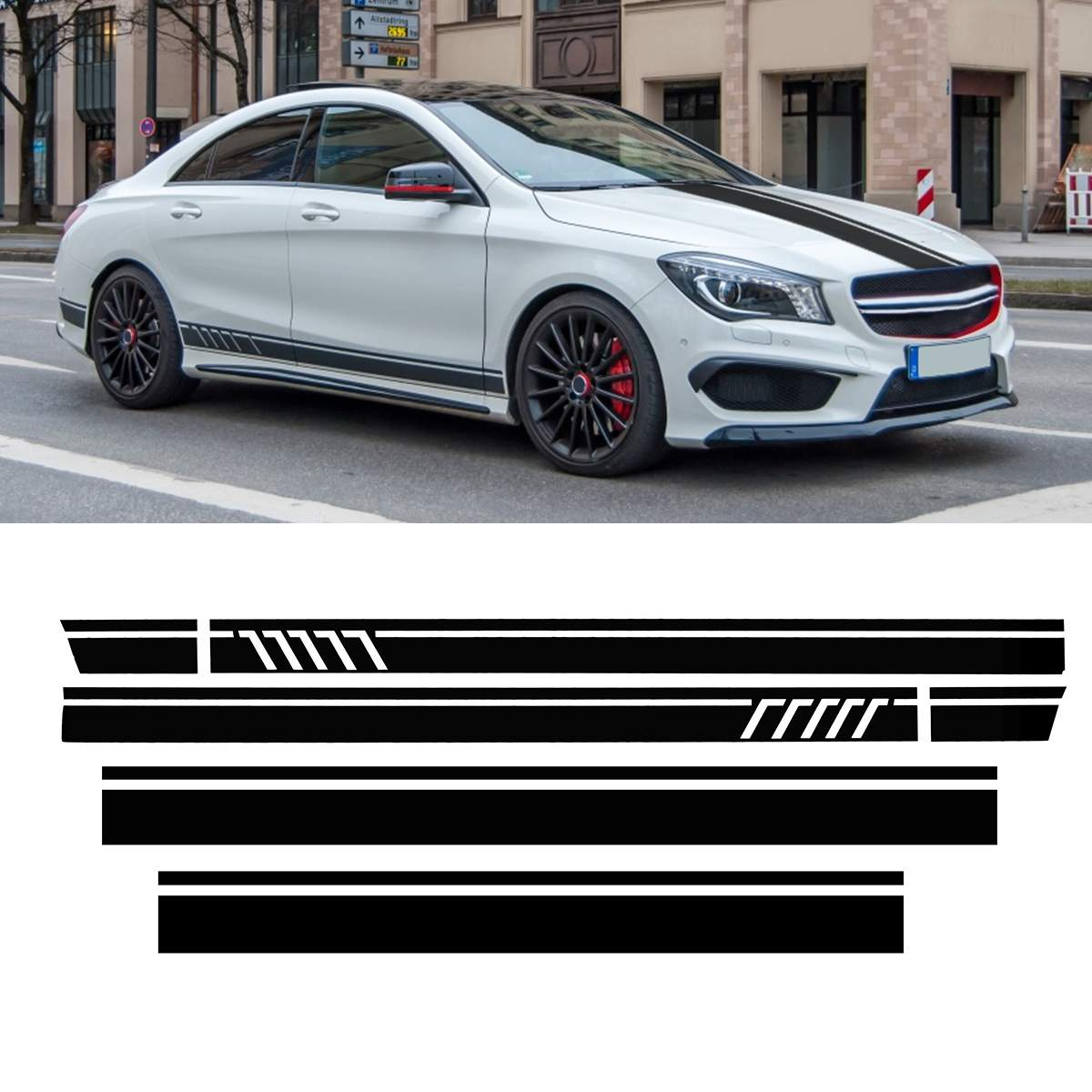 Car Racing Door Roof Sport Side Stripes Skirt Decal Sticker for <font><b>Mercedes</b></font> for Benz <font><b>W117</b></font> C117 X117 <font><b>CLA</b></font> -AMG image