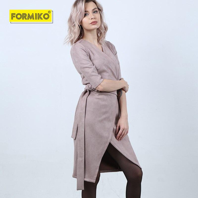 Formiko daim profond col en V cardigan Robe femmes taille haute avec ceinture Robe élégante automne hiver fête Sexy Robe ajustée