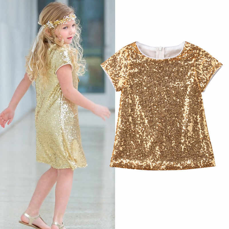 Toddler Kids Baby Girl Gold Sequins Princess Party Pageant Formal Dress Summer Straight Loose Dresses Sundress