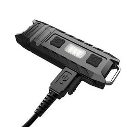 120 Derajat USB Isi Ulang 85 Lumen Merah dan Putih Dual Sumber Cahaya LED Gantungan Kunci Lampu Memiringkan Bekerja Lampu Klip
