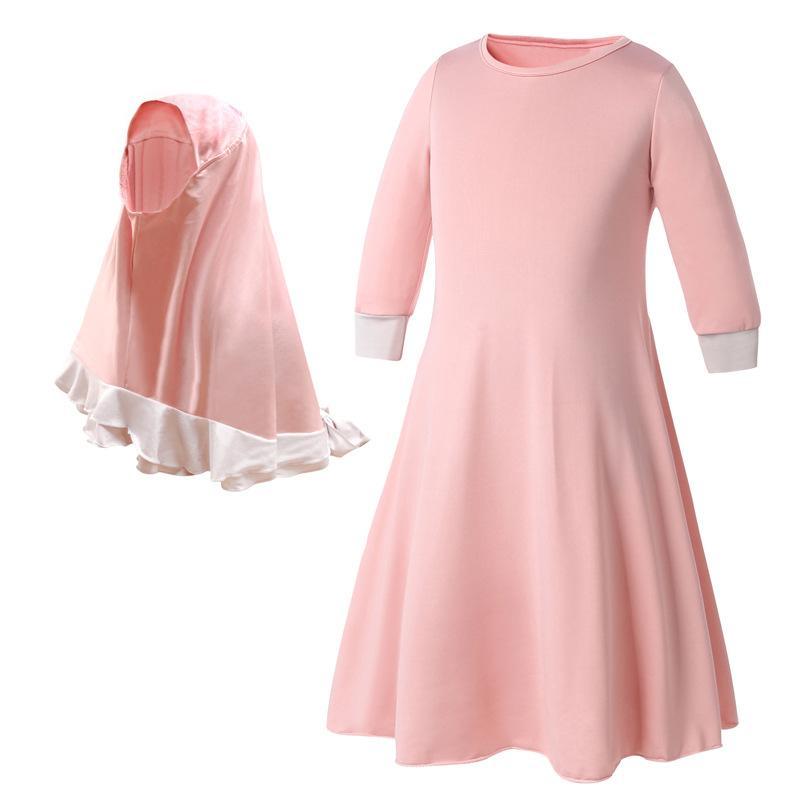 Image 4 - 2019 Children Abaya Kids Islamic Dresses Muslim Girl Dress Kaftan  Moroccan Hijab Robe Dubai Bangladesh Vestido Uae Abayas SetsIslamic  Clothing