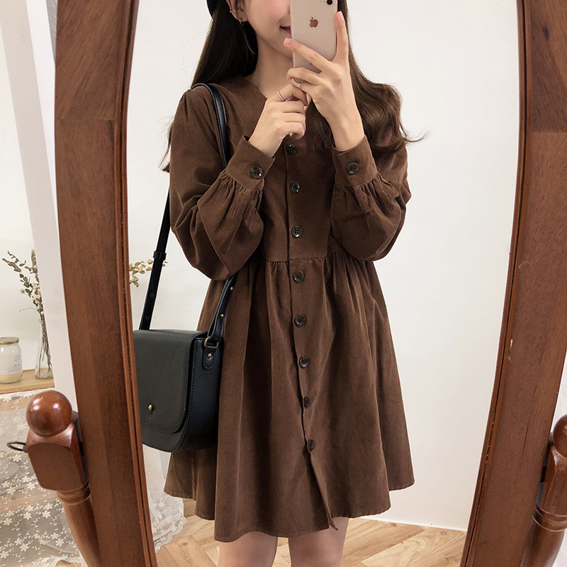 Image 4 - Cute Sweet Dresses Hot Sales Women Fashion Long Sleeve V Neck Vintage Preppy Style Girls Casual Loose Mini Button Shirt Dress-in Dresses from Women's Clothing