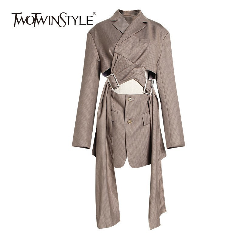 TWOTWINSTYLE Irregular Hollow Out Blazer Coat Female Lapel Collar Long Sleeve Womens Suit Spring Fashion 2019 Vintage Clothes