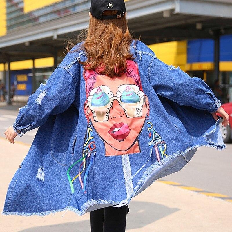 Revers Nouveau Black De Vgh Denim Longues À Coupe Hiver Manteau vent Col blue Asymétrique Longueur Automne Mode Peint Femmes Manches doCxshQrBt