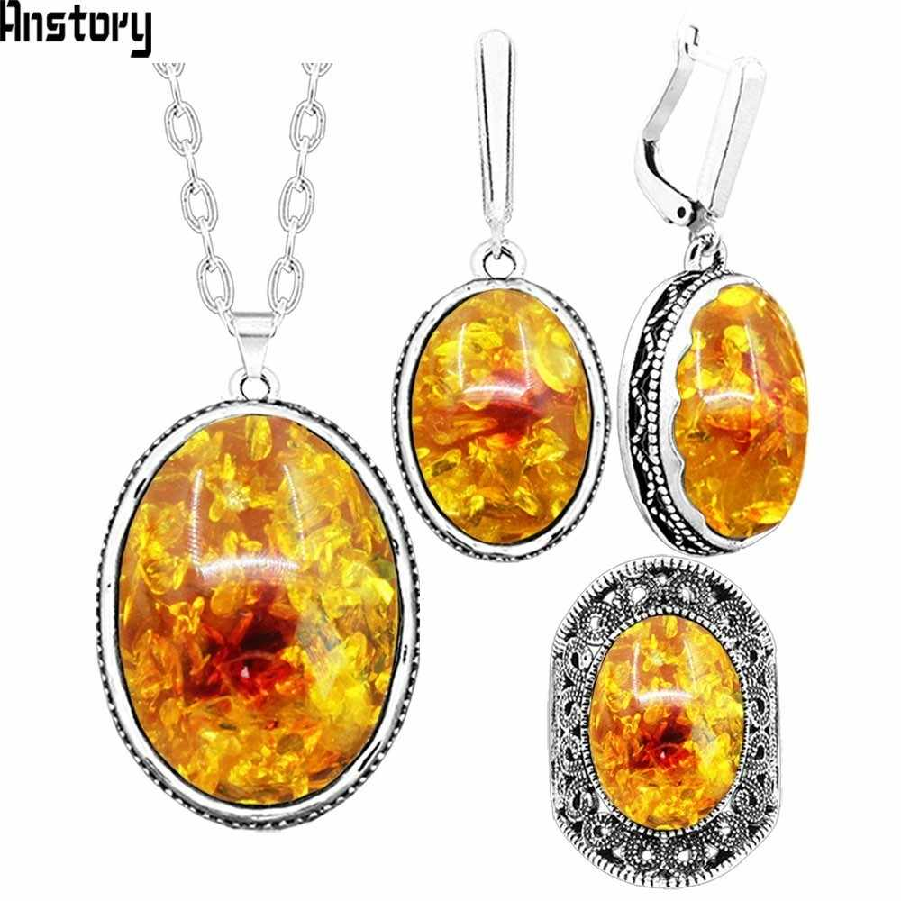 Oval Flower Pendant Resin Jewelry Set Choker Necklace Earrings Rings For Women Antique Silver Plated Stainless Steel Chain