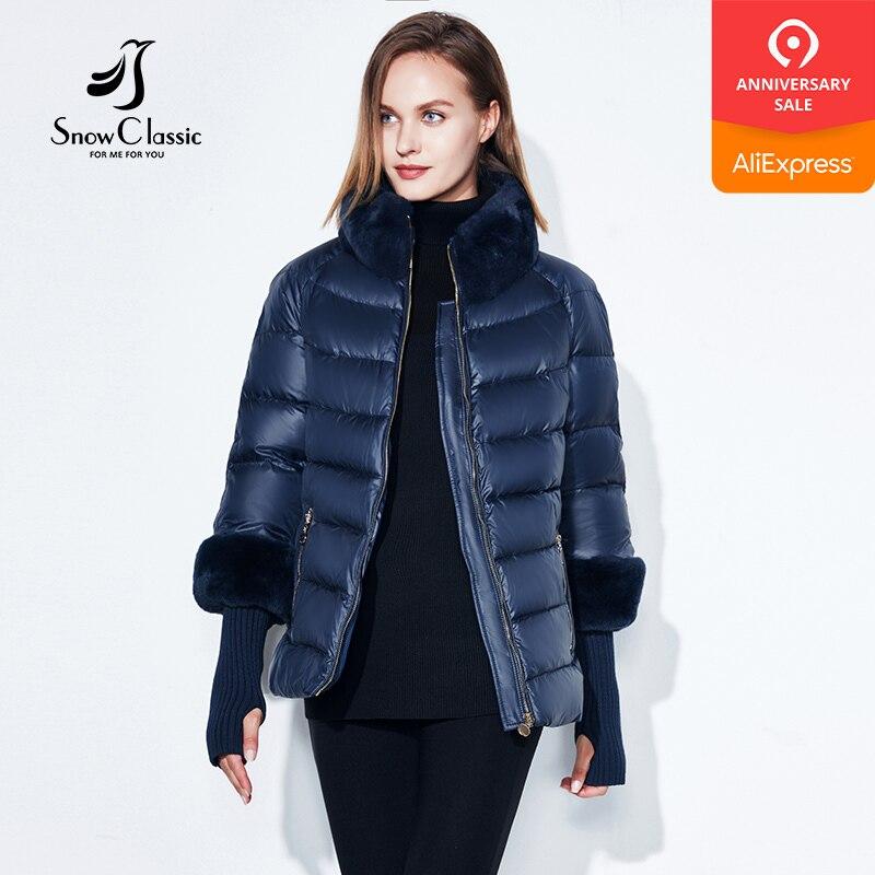 2018 kobiet płaszcz ciepła kurtka zimowa prawdziwe futro królika kołnierz/rękaw odpinany wiatrówka Plus tłuszczu kurtka SnowClassic w Parki od Odzież damska na  Grupa 1