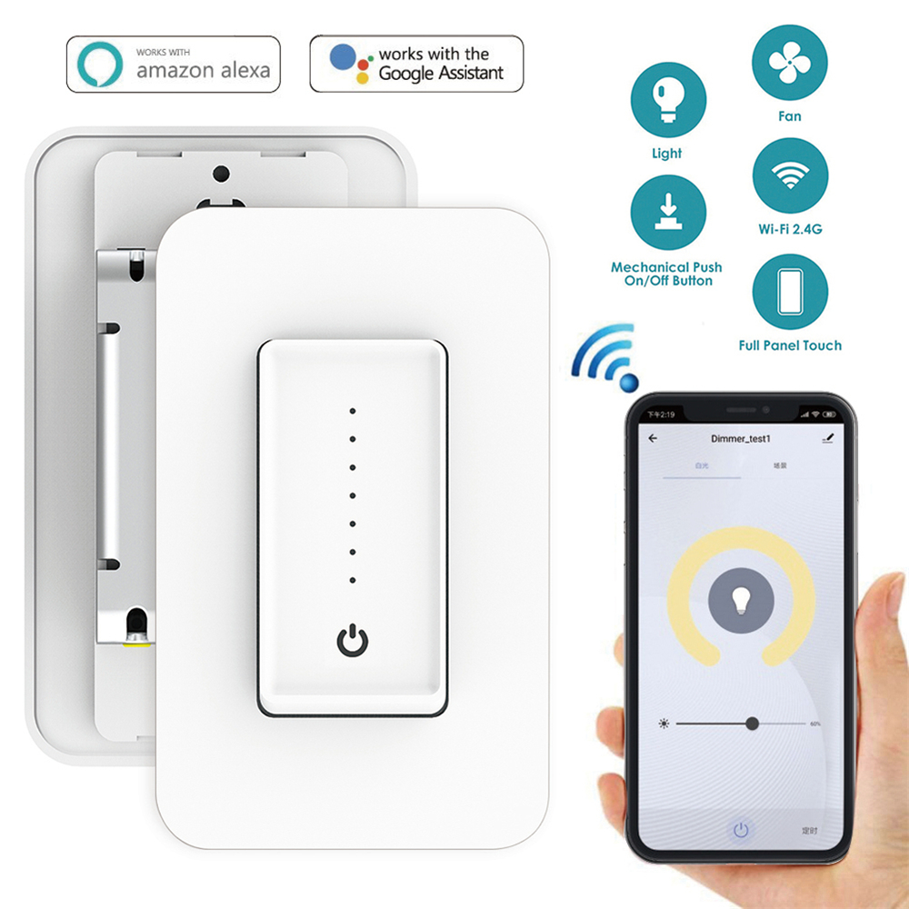 US WiFi Smart Dimmer Switch Light Switch Fan Speed Adjustment Wall Switch Interruptor Work with Alexa Google Assistant IFTTT