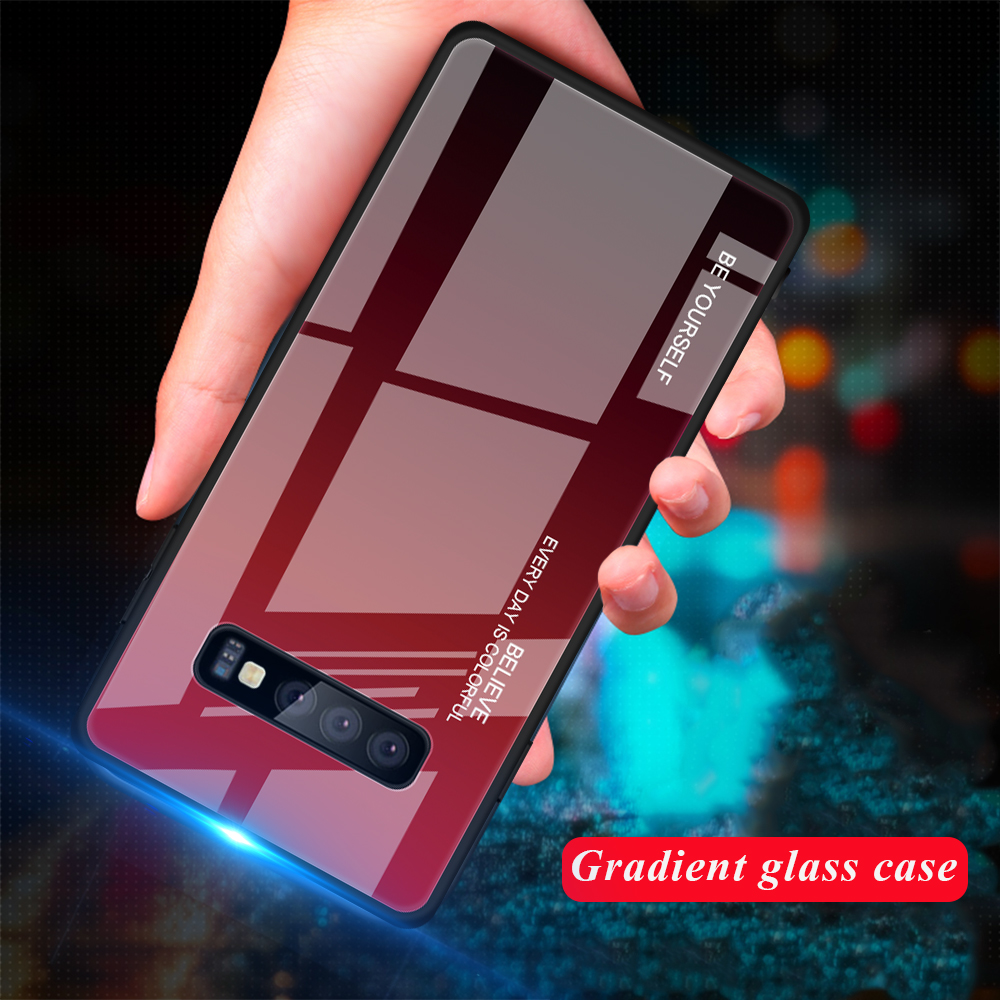 50pcs lot free shipping Gradient Tempered Glass Soft TPU Frame Cases for Samsung Galaxy S10 S10Lite