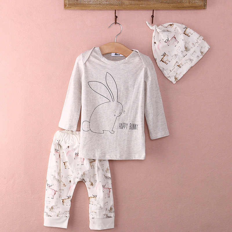 2019 комплект одежды из 3 предметов для новорожденных девочек, топы с длинными рукавами с кроликом, штаны с принтом, шапочка, детская одежда, повседневный милый Весенний костюм, новинка