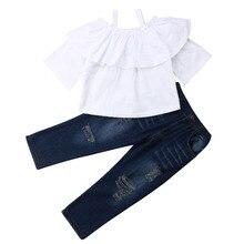 ee85de71c 2019 Summer Toddler Kids Baby Girl Off Shoulder White Blouse Tops Ripped Jeans  Denim Pant 2PCS