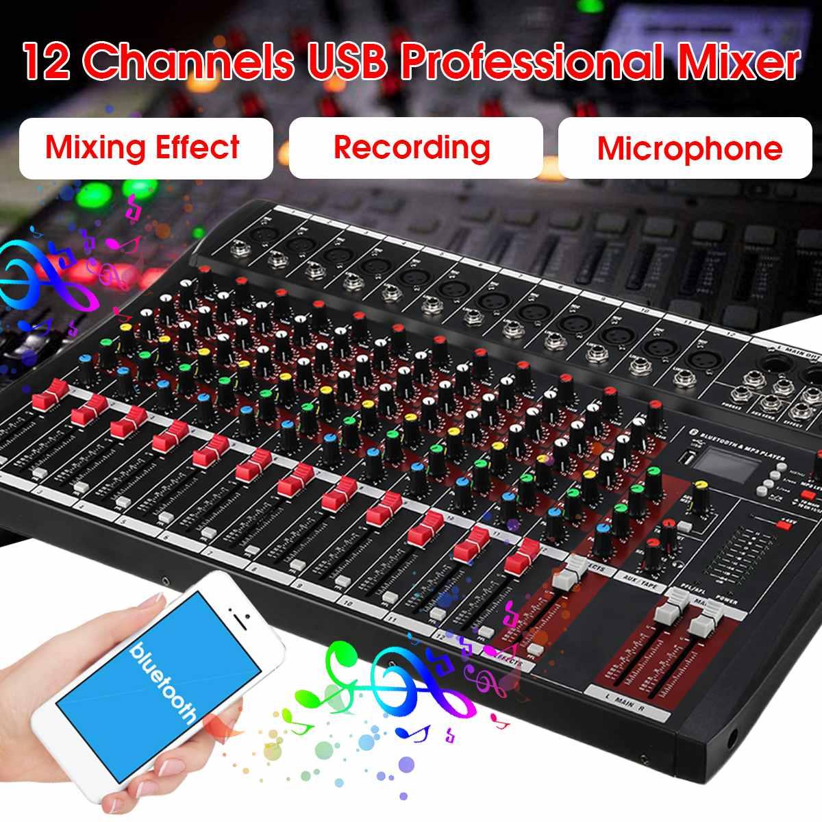 12 Channel Karaoke Audio Mixer Professional bluetooth Live Studio Mixing Console Digital Audio Mixer with USB 48V US Plug12 Channel Karaoke Audio Mixer Professional bluetooth Live Studio Mixing Console Digital Audio Mixer with USB 48V US Plug