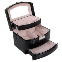 אוטומטי עור תכשיטי תיבת אחסון שלוש שכבות תיבת לנשים עגיל טבעת קוסמטי ארגונית ארון עבור קישוטי שחור