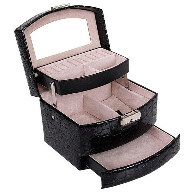 自動革の宝石箱三層収納ボックス女性のためのイヤリングリング化粧品オーガナイザー棺装飾用黒