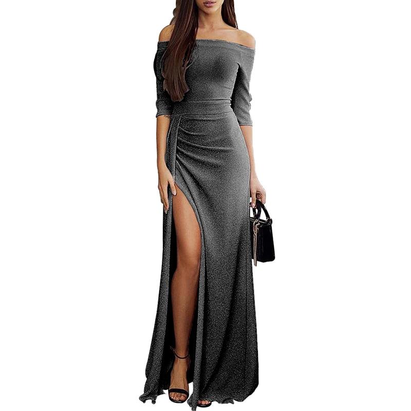 New Sexy Women Glitter Maxi Dress Off Shoulder High Split Slash Neck Elegant Club Party Long Dress vestidos 2019 New Streetwear