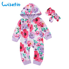 Wisefin Romper Baby Fashion For Girl Clothes Jumpsuit Newborn Toddler Hoddie With Headband