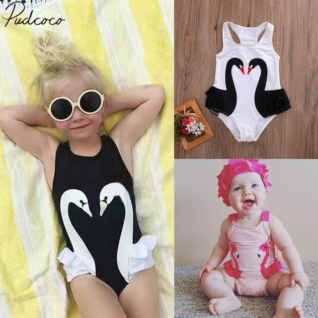 3455c3d4cc34d 2019 Brand New Toddler Kids Baby Girls 3D Swan Swimsuit One Piece Tutu  Swimwear Ruffled Bikini Skirt Bathing Suit Beachwear 2-7T