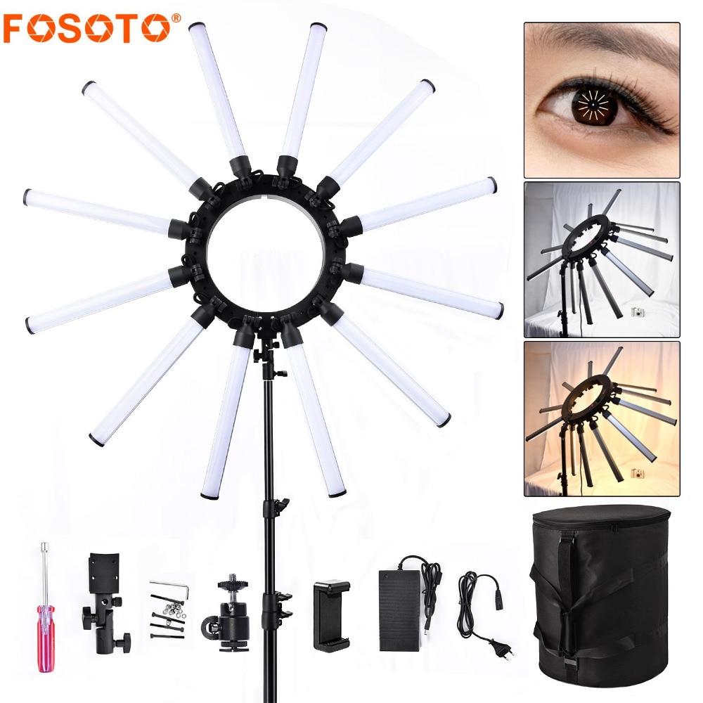 Fosoto TL-1800S фотографическое Освещение Dimmable 5600-672 K 12 Tubes световая лампа для съемки Leds камера фотостудия телефон 3200