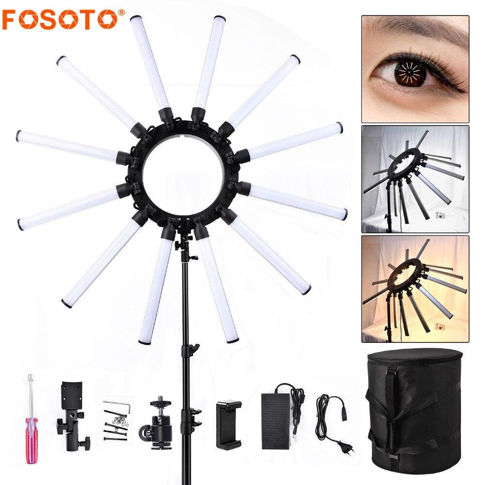 Fosoto TL-1800S Photographique Éclairage Dimmable 3200-5600 K 12 Tubes 672 Leds Caméra Photo Studio Téléphone éclairage de photographie Lampe