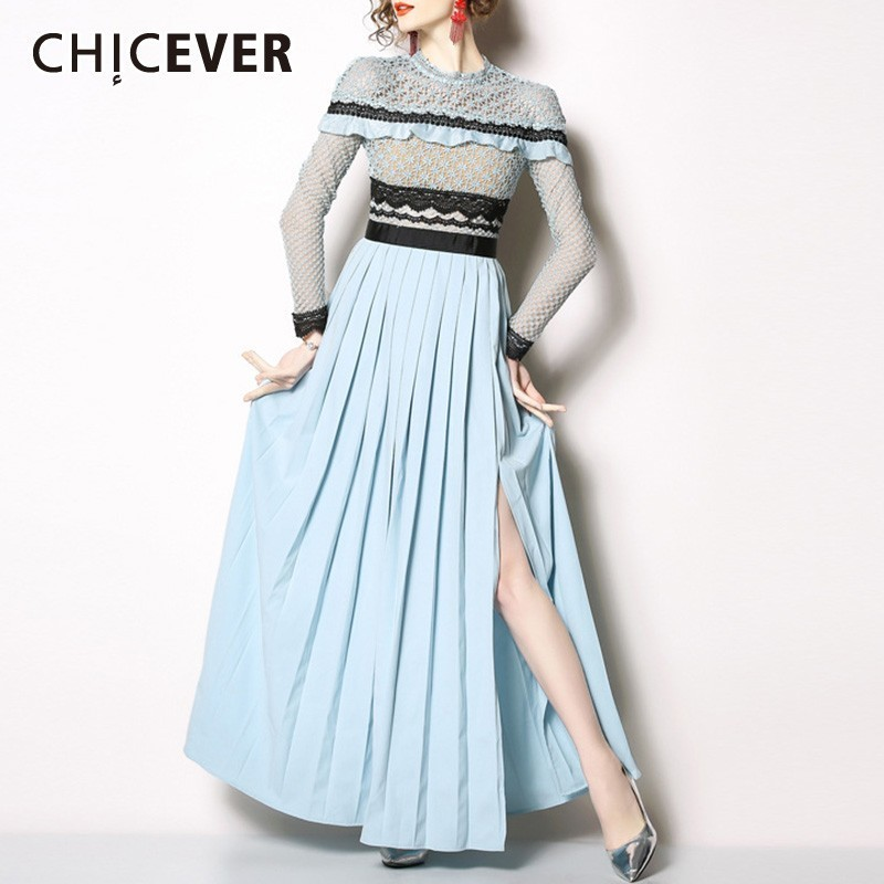 CHICEVER Summer Chiffon Women s Dress O Neck Long Sleeve Lace Patchwork Hollow Out Hem Split