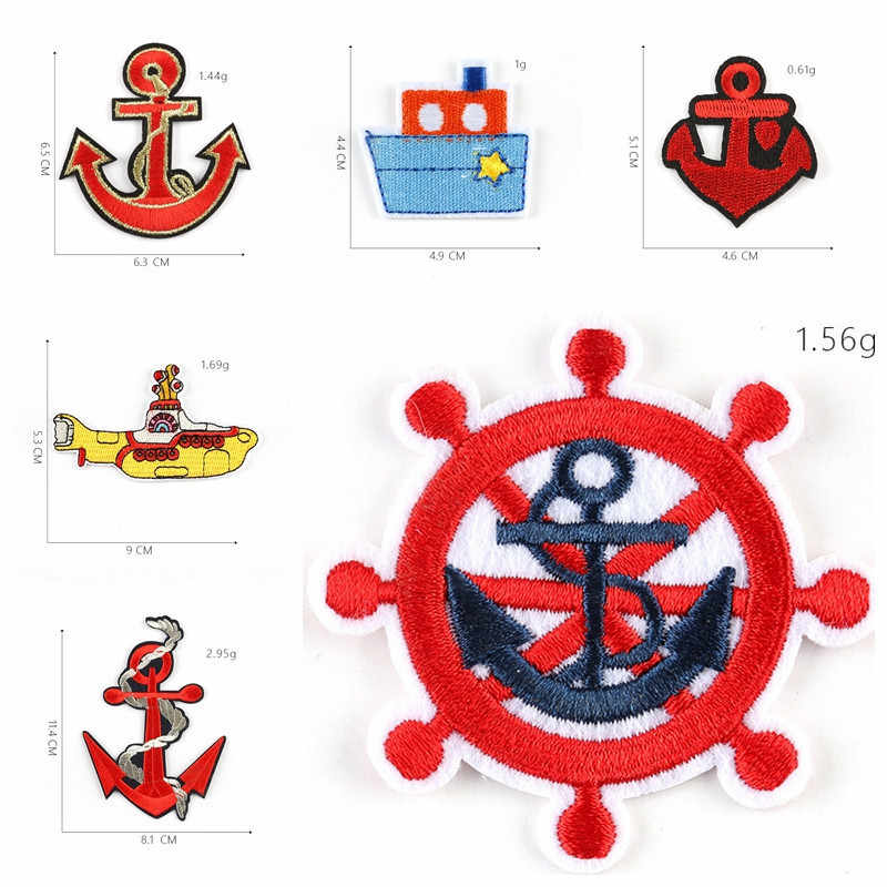 1PCS Cartoon undersea boat Embroidered Patches Iron On for Clothing steering wheel ship's anchor Appliques Flower Badges Parches