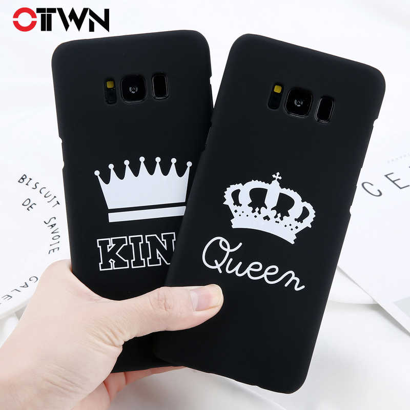 Ottwn Letter Phone Cases For Samsung Galaxy S7 Edge S8 S9 Plus Hard PC Back Cover Cute KING Queen Crown Cases For Samsung Note 8