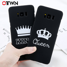 Ottwn Letter Phone Cases For Samsung Galaxy S7 Edge S8 S9 Plus Hard PC Back Cover Cute KING Queen Crown Note 8