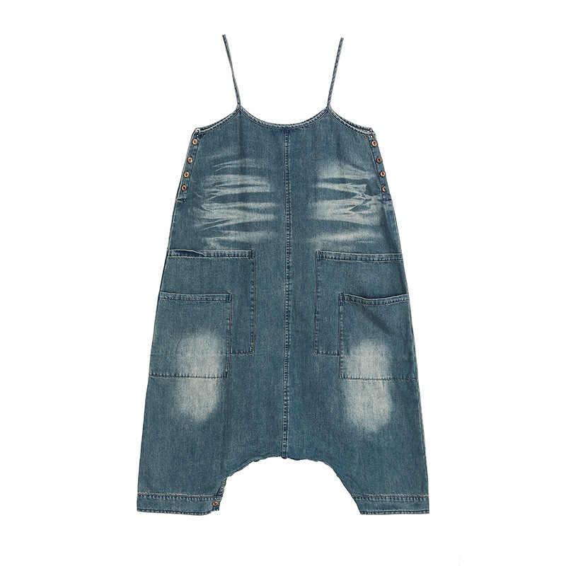 LANMREM 2019 Лето Clthes для женщин новый шаблон пуловер без рукавов джинсовое платье индивидуальность двухсторонняя одежда нерегулярная ткань YH035