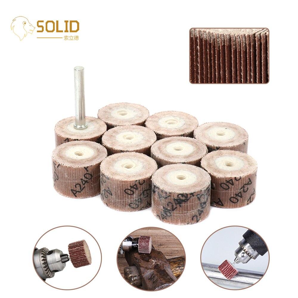 "50Pcs 20mm Sandpaper Flap Wheel Head  1/4"" Shank Polishing Flap Wheels Brush 80~600# for Abrasive Grinder Rotary Dremel Tools Abrasive Tools     - title="