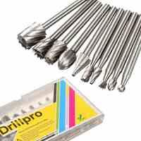 Drillpro 10 pièces 3.175mm HSS Routage Routeur Fraise Fraise Pour Dremel Et Gravure Rotative Accessoires Pour Machines-outils