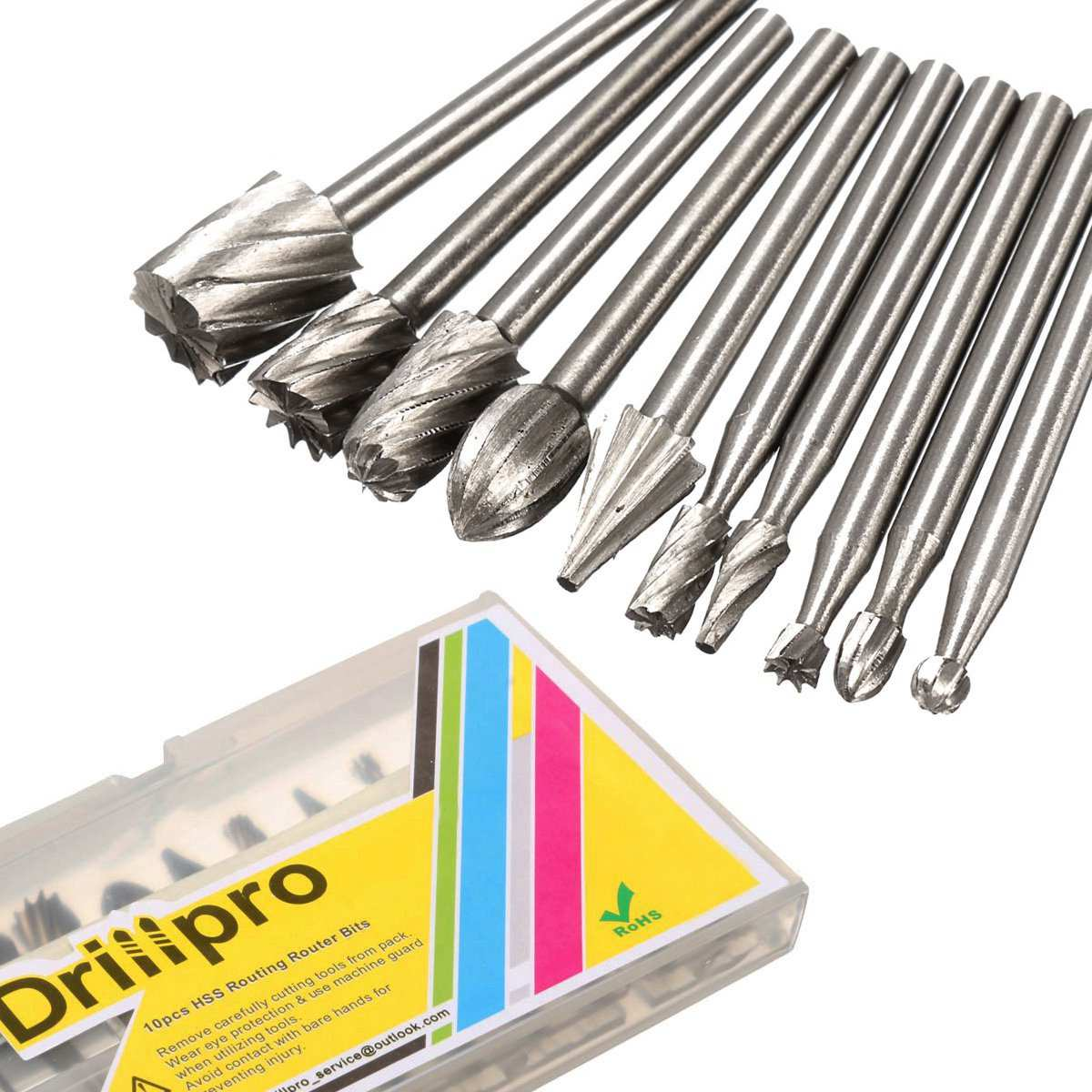 Drillpro 10pcs 3.175mm HSS Routing Router Bits Burr Milling Cutter For Dremel And Rotary Engraving Machine Tools Accessories