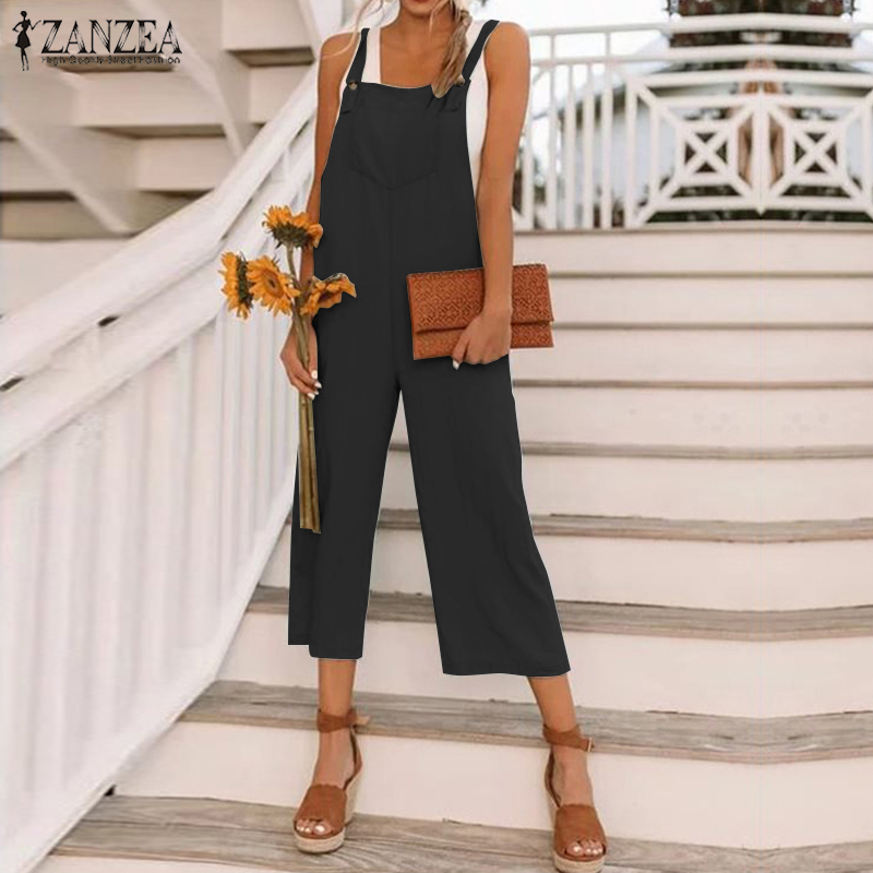 Rompers   Womens Jumpsuit ZANZEA Office Lady Long Playsuit Elegant Solid Pockets Suspender Overalls Vintage Spaghetti Straps Mono