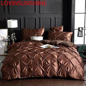 Image 1 - LOVINSUNSHINE Bed Linen Set Duvet Cover King Size Luxury Duvet Cover Bedding Set King Size Silk AC04#