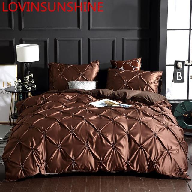 LOVINSUNSHINE Bed Linen Set Duvet Cover King Size Luxury Duvet Cover Bedding Set King Size Silk AC04#
