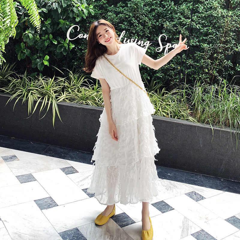 LANMREM 2019 Новое модное лоскутное белое платье с коротким рукавом и кружевной каймой с высокой талией для женщин женская одежда Vestido YG80600