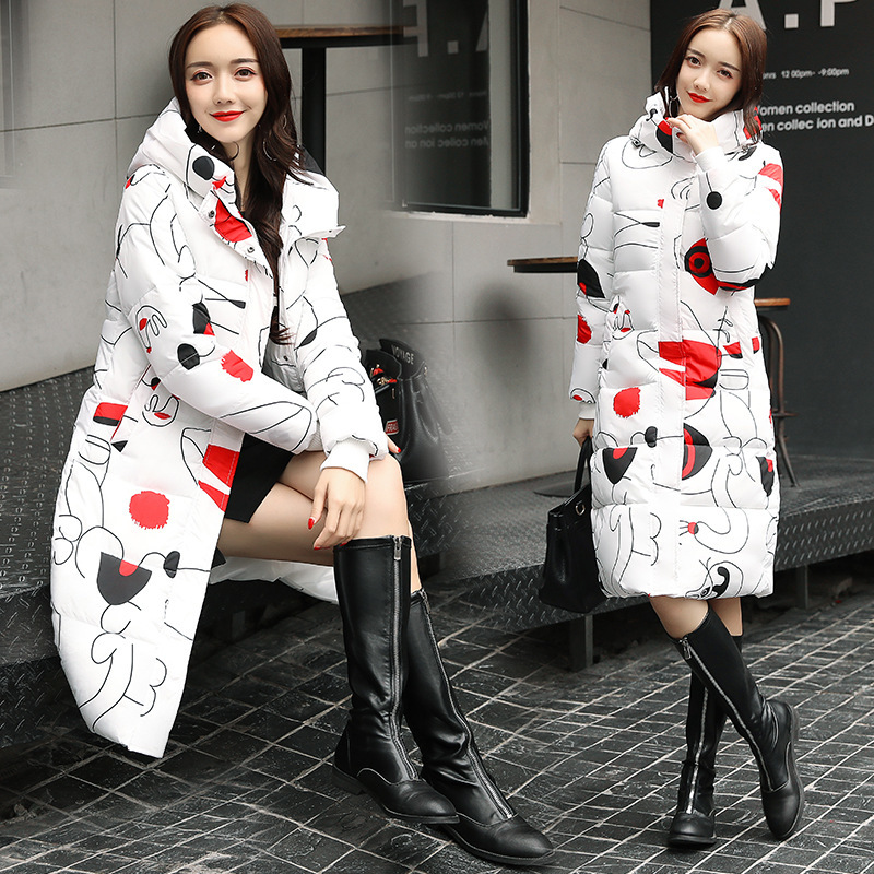 Hooded Colorful Winter   Down     Coat   Jacket Long Warm Women Casaco Feminino Abrigos Mujer Invierno