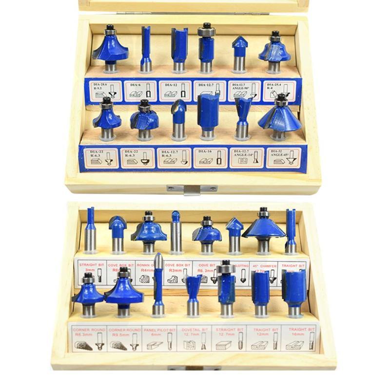 "Yellow Router Bit Set 24PCS 1//2/"" Shank Handle Wood Work Milling Cutter Tool"