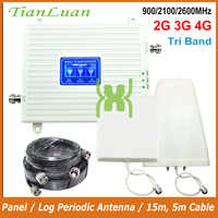 TianLuan Mobile Phone Signal Repeater 900MHz 2100MHz 2600MHz 2G 3G 4G Signal Booster LTE GSM W-CDMA IMT-E with Panel/Log Antenna