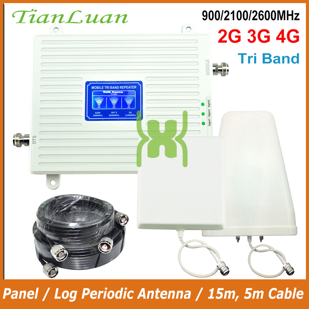 TianLuan teléfono móvil repetidor de señal 900 MHz 2100 MHz 2600 MHz 2G 3G 4G amplificador de señal LTE GSM W-CDMA IMT-E con Panel/antena de registro