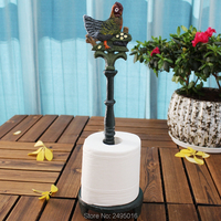 Cock Cast Iron Animal Paper Towel Holder Bath Tissue Toilet Roll Jewelry Organizer Free Standing Bronze Rustic Decor