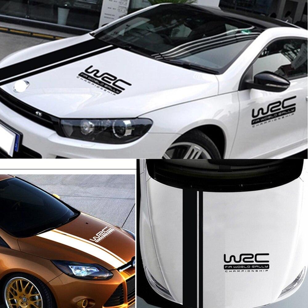 2pcs 120*20cm WRC Stripe Car Covers Vinyl Racing Sports Sticker for Volkswagen Golf 4 Mk4 Passat b6 Peugeot 206 Universal