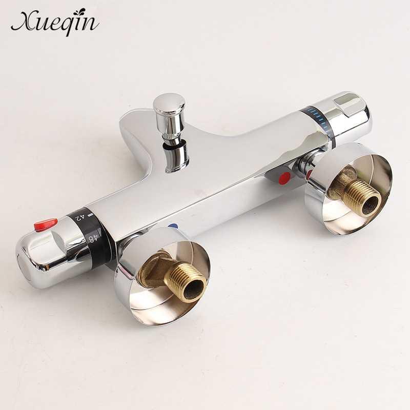 Banheiro termostática mix banho chuveiro torneiras válvula de controle água montado na parede cerâmica dois lidar com torneira misturadora