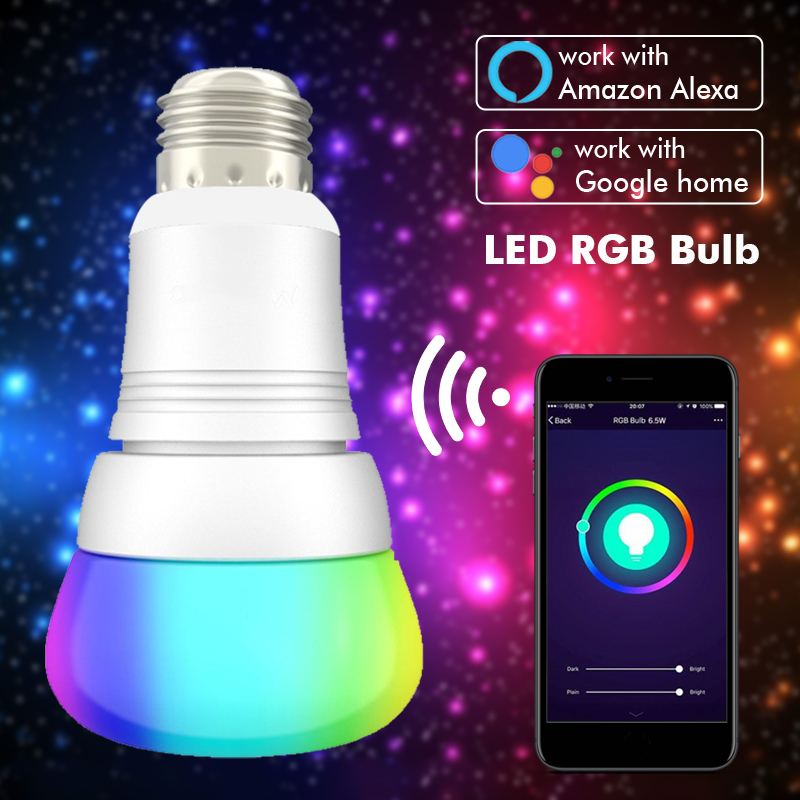 Voice control Smart LED RGB Bulb, Works with Alexa, Google Home/Nest,Time Setting,Group/Remote Control,RGBW Color , E27/E26/B22