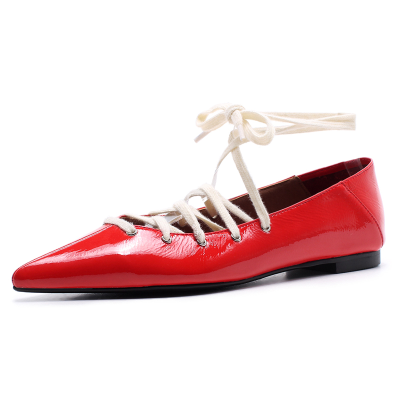 Womens Red Flats Genuine leather Lace-up Sexy Ladies Party Loafers Summer Style Plus 42 Casual Shoe Box Packing Z23Womens Red Flats Genuine leather Lace-up Sexy Ladies Party Loafers Summer Style Plus 42 Casual Shoe Box Packing Z23