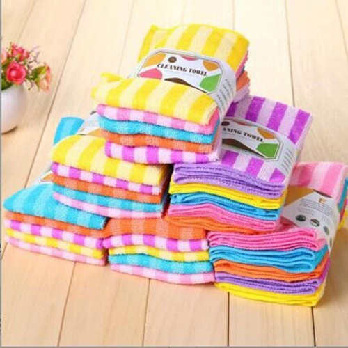 5PCS Kitchen Cleaning Cloths Colorful Dining Stripe Towel Cloth Microfiber High-efficiency Tableware Household Cleaning Towel